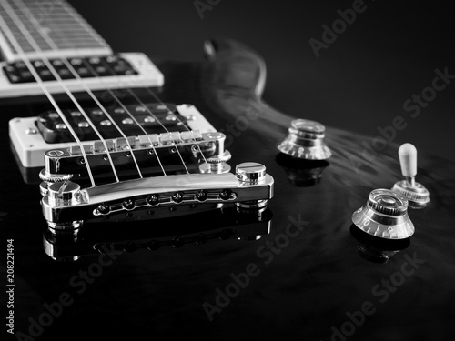 Electric Guitar Elements Strings Pickup Closeup Black And White