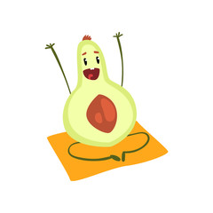 Funny avocado fruit cartoon character doing yoga exercise vector Illustration on a white background
