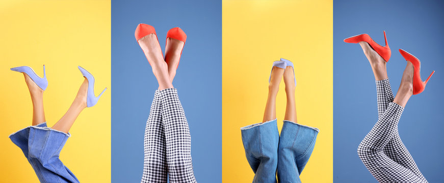 Young women in stylish shoes on color background