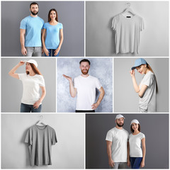 Collage with young people in stylish t-shirts and caps. Mockup for design
