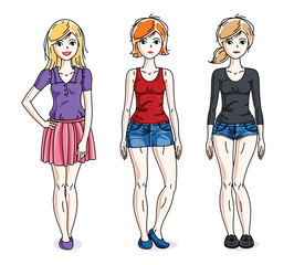 Attractive young adult girls standing wearing casual clothes. Vector people illustrations set. Fashion and lifestyle theme cartoons.