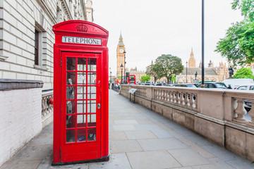 Fotorolgordijn Rood, zwart, wit Central London, England with famous landmark sights Big Ben and parliament in Westminster