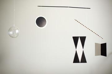 Munari Montessori mobile close up on a white background