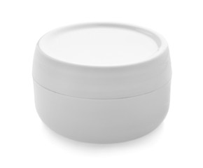 Jar with cream on white background. Skin care cosmetics