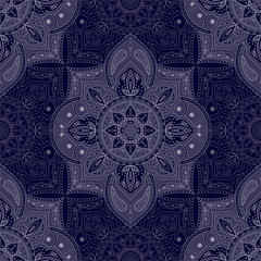 Floral indian paisley pattern vector seamless. Vintage flower ethnic ornament for furniture fabric. Oriental folk design for boho bedroom textile, yoga clothing, india luxury wedding, silk scarf.