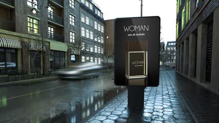 advertising perfume billboard on city street at evening