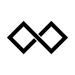 Black infinity symbol icon. Rectangular shape with sharp edges. Simple flat vector design element.