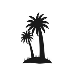 Black silhouette of palm trees isolated on white background. Flat coconut palms on small piece of land. Logotype and icon simple palm trees for travel agency or summer products, tour brochure, banner.