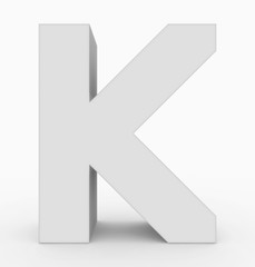 letter K 3d cubic white isolated on white