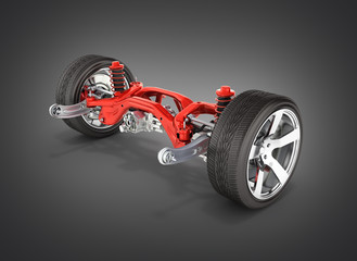 Suspension of the car in details with wheel isolated on black gradient background 3d