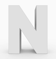 letter N 3d cubic white isolated on white
