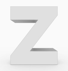 letter Z 3d cubic white isolated on white