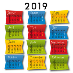 calendrier 2018 - original - déco - coloré, design, artistique - publicitaire - marketing,