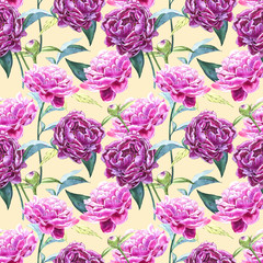 Seamless background with peony flowers. Watercolor illustration. Graphic hand drawn floral pattern. Textile fabric design.