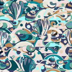 Underwater life, seashells and waves. Cute seamless pattern, vector background for your design, textile, home interior, wallpaper, wrapping, covers, clothes, scrapbooking.