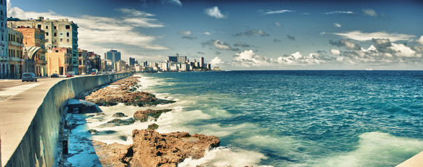 Aluminium Prints Havana view of havana city and malecon