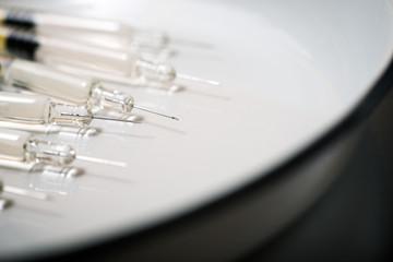 Syringes close up