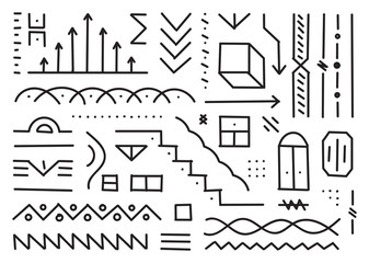 hand drawn shapes, sketch drawings vector