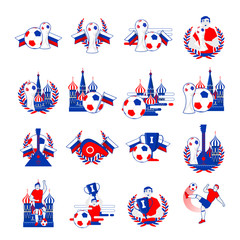 Welcome to Russia inscription badges vector set. Abstract invitations collection on world football cup 2018. Russian folk art tradition elements, balalaika, nesting doll, football symbols, ball.