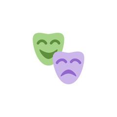 Drama masks satire theatre happy sad smile, two face masks vector illustration flat cartoon character doodle art style icon symbol