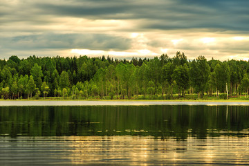 Landscape with forest and lake.