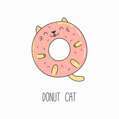 Foto auf Leinwand Abbildungen Hand drawn vector illustration of a kawaii funny donut with cat ears. Isolated objects on white background. Line drawing. Design concept for cat cafe menu, children print.
