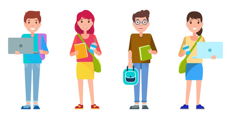 Students Smiling Collection Vector Illustration