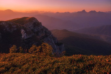 Sunset over Caucasus Mountains