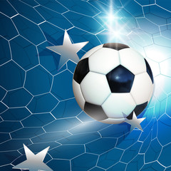 Football  soccer ball flying into the goal net with stars
