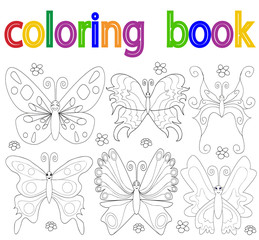 book coloring, butterfly