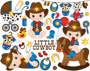 Vector Cowboy Set. Set Includes Cute Little Baby Boys Dressed as Little Cowboys