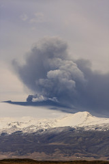 Volcano eruption with ash cloud explosion / Volcanic erupt of eyjafjallajokull in Iceland