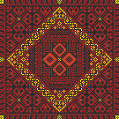 embroidered good like old handmade cross-stitch ethnic pattern