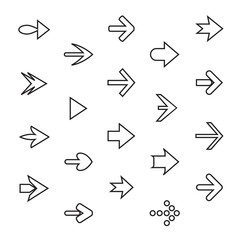 Set of outline arrows. Collection of vector buttons.