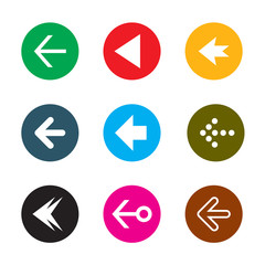 Set of color arrows. Collection of vector buttons.