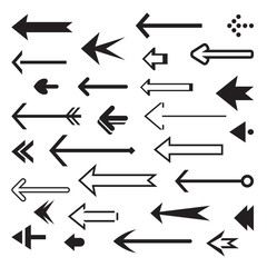 Set of back vector arrows. Illustration and Icon.