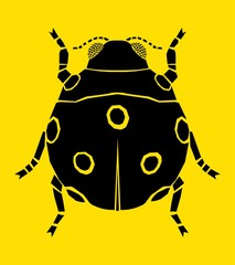 Ladybird silhouette, vector illustration, isolated on yellow background.