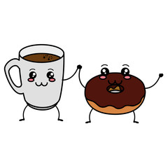 coffee cup with sweet donuts kawaii characters vector illustration design