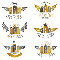 Ancient Bastions emblems set. Heraldic vector design elements collection. Retro style label, heraldry logo.