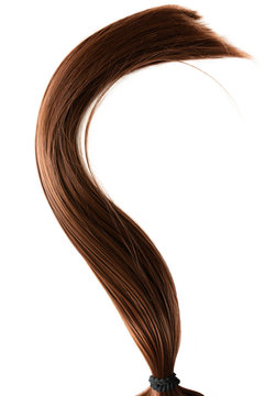 long healthy straight brown hair ponytail isolated on white background