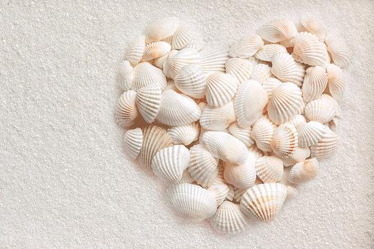 Muscheln liegen in Herzform auf weißem Sand
