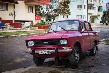 HABANA, CUBA-JANUARY 13: Old car on January 13, 2018 in Habana, Cuba. Old car on the city street