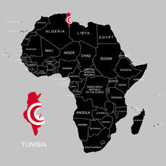 Territory of Tunisia on Africa continent. Vector illustration