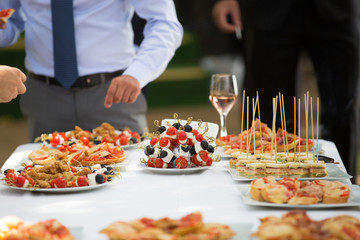 Buffet table at outdoor wedding