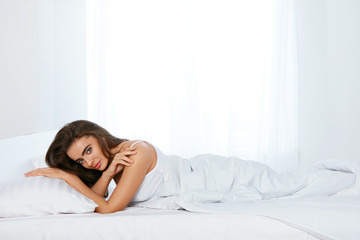 Woman On Bed, Lying On White Bedding With Pillow