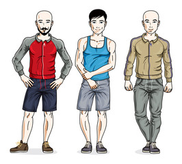 Handsome young men group standing wearing stylish sport clothes. Vector different people characters set.