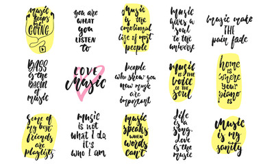 Set of hand drawn lettering phrase about Music isolated on the white background. Fun brush ink vector quotes for banners, greeting card, poster design.