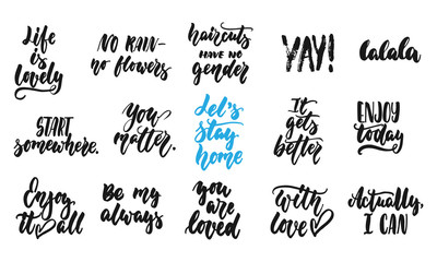 Hand drawn quotes lettering different phrases set about love and life isolated on the white background. Fun brush ink vector illustration for banners, greeting card, poster design, photo overlays.