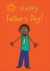 Kid's drawing. Father's day. African man in the picture