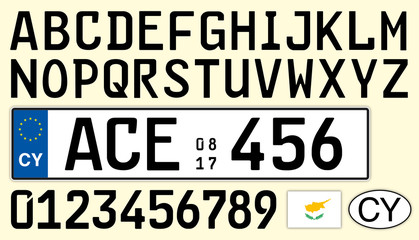 Cyprus car plate, letters, numbers and symbols